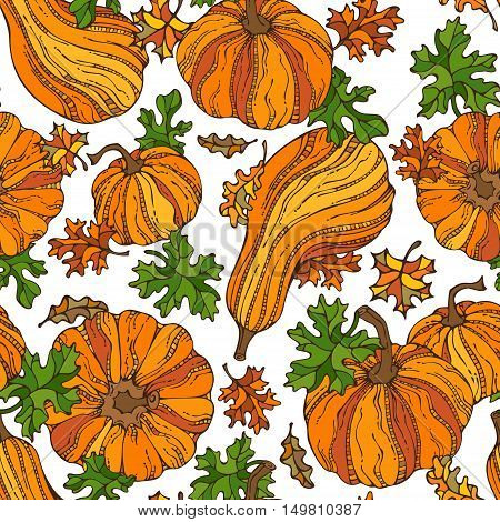 Vector Seamless Pumpkin Pattern.