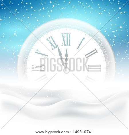 Happy New Year background with clock nestled in snow