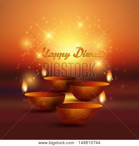 Decorative Diwali background with burning oil lamps