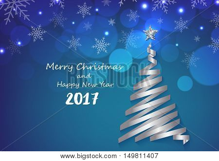 Silver ribbon make Christmas tree shape on blue snowflakes background greeting card
