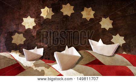 Columbus Day. Three Paper Caravels Chart and Flag Waves.