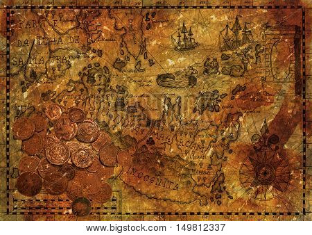 Old pirate map with ancient coins on grunge paper texture background. Hand drawn illustration and collage with treasure hunt, vintage adventures and old transportation concept
