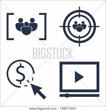 Set Of Seo, Marketing And Advertising Icons On Pay Per Click, Video Advertising, Audience Targeting