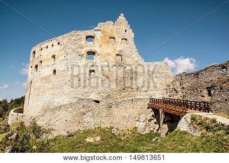 Ruins of Topolcany castle Slovak republic central Europe. Ancient architecture. Retro photo filter. Beautiful place. Travel destination.
