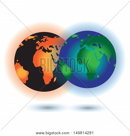 Global warming. This earth irradiation concept is an awesome depiction a worldwide energy disaster. Elements of this image furnished by NASA.Vector Illustration EPS10.