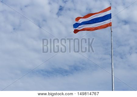 thailand flag with blue sky on cloud background