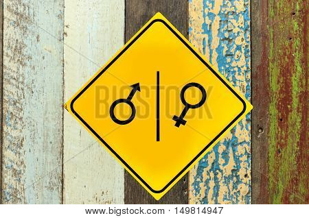 Toilet sign on wood wall texture or background