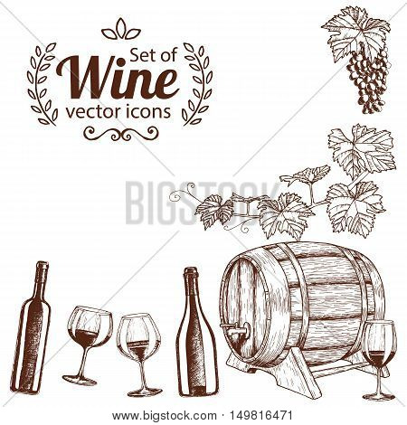 Corner frame of sketch wine icons isolated on white background. Vector stock illustration.