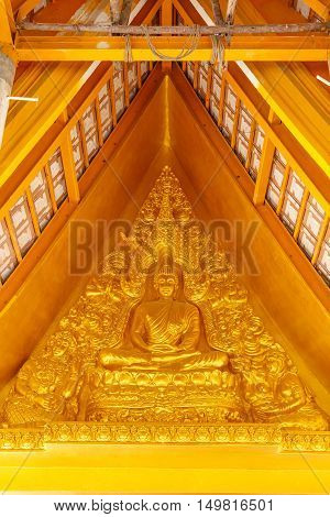 Wood board with buddha carve texture in temple
