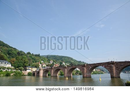 HEIDELBERG, GERMANY - SEPTEMBER 15: The old bridge Alte Brucke across the river Neckar in the old german city Heidelberg on September 15, 2016.