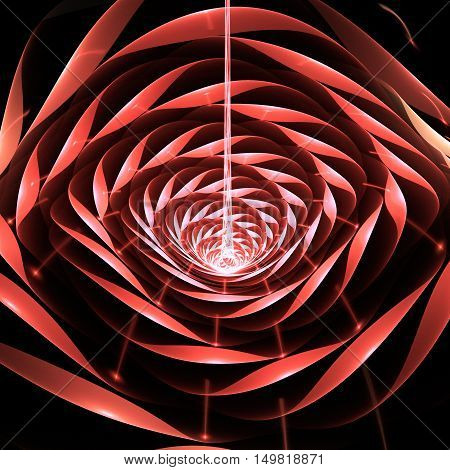 Abstract shining 3d flower on black background. Fantasy fractal design in light red rose and white colors.
