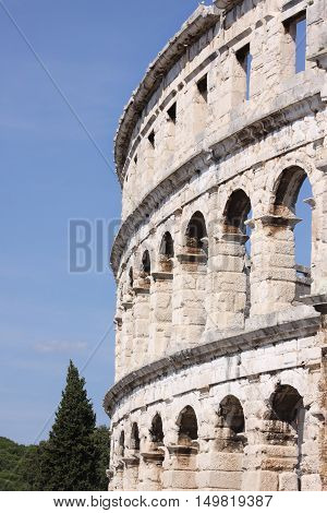 Stone Wall of Old Roman Colosseum in Pula