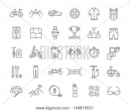 Set vector line icons with open path cycling bike elements and parts bicycle sport with elements for mobile concepts and web apps. Collection modern infographic logo and pictogram.