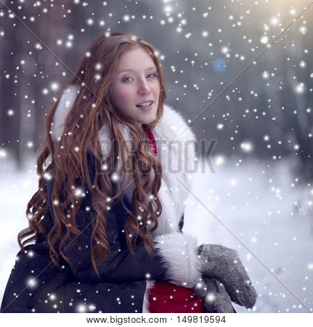 Fairy Tale Girl In Sheepskin Coat In Magic Forest.