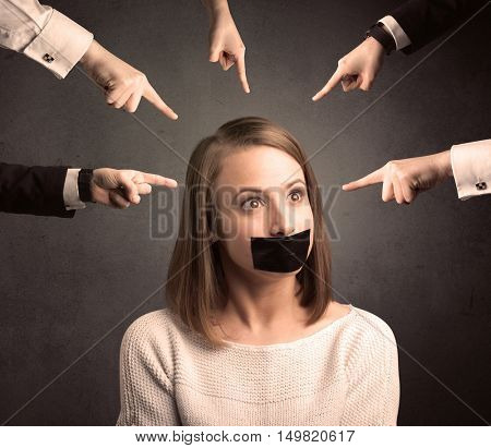Caucasian multiple business hands pointing at female employee