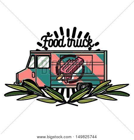 Color vintage Food truck emblem. Vector illustration, EPS 10