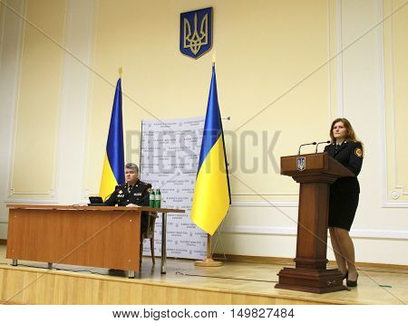 KIEV UKRAINE - November 10 2014: Press conference of Chairman of the State Emergency Service of Ukraine Colonel Sergei Bochkovsky (left). Investigators detained at a government meeting Ukraine 25 March 2015 on corruption in the public service of emergenci