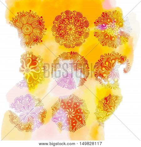 yellow watercolor splash background with 9 rangoli flower different elements for diwali festival greeting card design, vector illustration eps 10