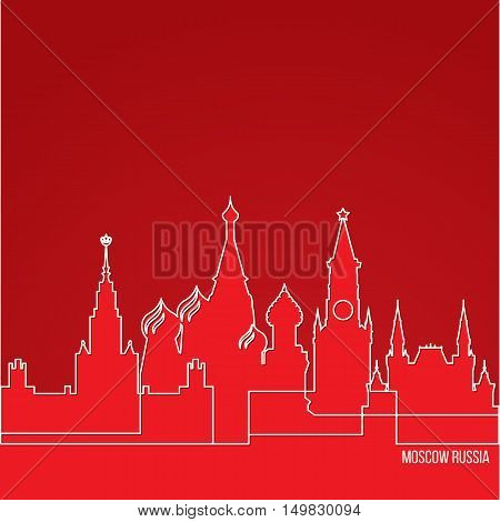 Russia Moscow Concept for web banner. One line composition with greatest landmarks. White linear icon on red background. Vector illustration.