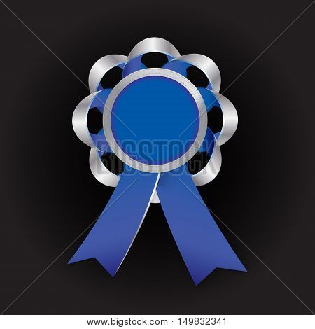 Realistic vector silver award with reb bow and ribbon on dark background. Round composition. Paste your photo inside. Employee of the year concept.