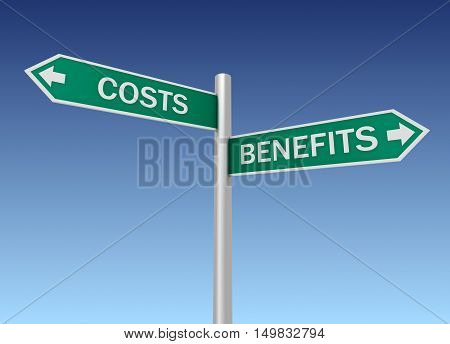 costs benefits road sign concept  on sky background 3d illustration