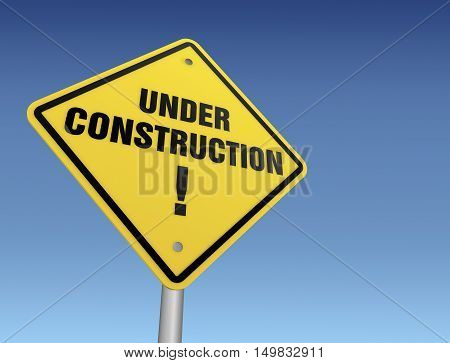 under construction road sign concept  on sky background 3d illustration