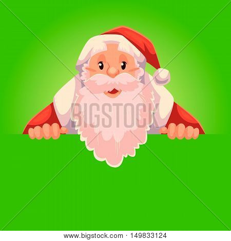 Santa Claus holding a sign with a place for text, cartoon style vector illustration isolated on green background. Half length portrait of Santa holding an empty board, Christmas decoration element