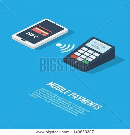 Mobile payments concept infographics presentation. Smartphone with nfc technology making wireless contactless transactions. Eps10 vector illustration.