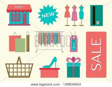 Set of shopping icons. Vector illustration, EPS 10