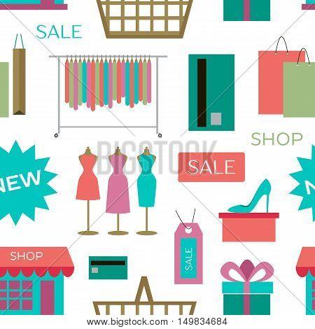 Set of shopping icons pattern. Vector illustration, EPS 10