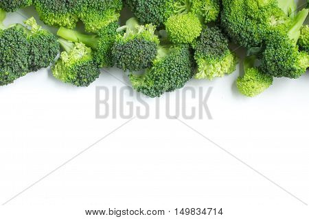 Fresh Broccoli Frame isolated in white background