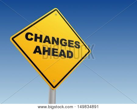 changes ahead yellow road sign concept  3d illustration