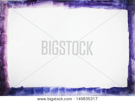 Simple abstract purple blue grunge vintage frame border ink pattern with brush strokes stains and empty white seamless paper texture blank copyspace