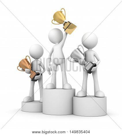 winner podium  isolated on white background 3d illustration