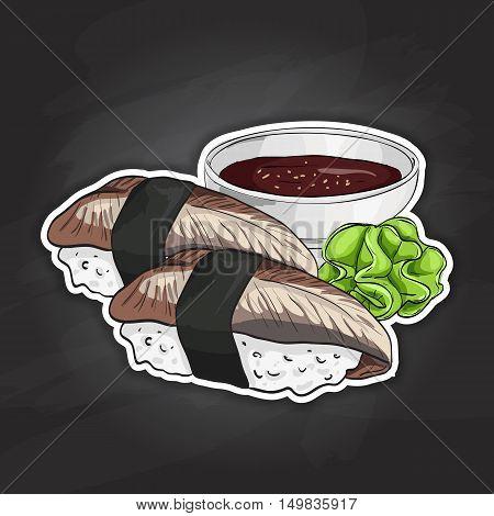 Vector color sticker, Unagi Nigiri Sushi on black background. Sushi symbol stock vector illustration.
