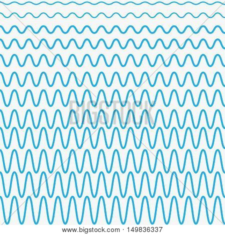 set of blue waves with different amplitudes, the waves in vector design for design marine website