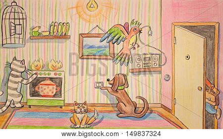 illustration of colored pencils hand drawing Pets at home when the owner went to work. Take care of gas and electricity.