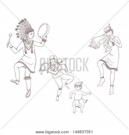 native americans, dancing indian family in traditional costume with flute and drum, hand drawn vector illustration