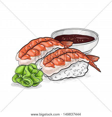 Vector sushi color sketch, Ebi Nigiri Sushi. Sushi symbol stock vector illustration.