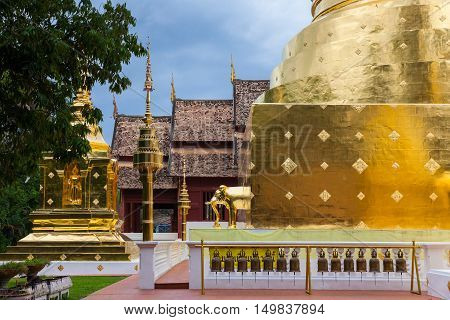 Dusk View of the Wat Phra Singh temple the most revered temple in Chiang Mai Thailand.