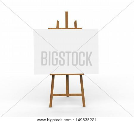 3D illustration ob blank canvas on a wooden easel on a white background