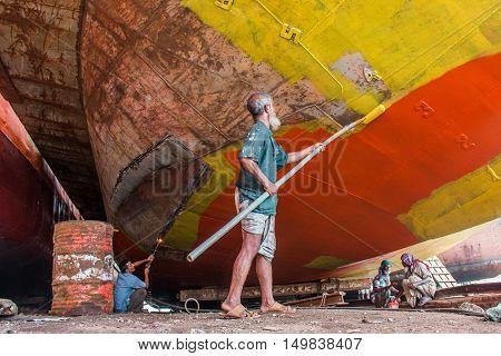 DHAKA BANGLADESH- AUGUST 13 2016. Unidentified labor work in dockyard.