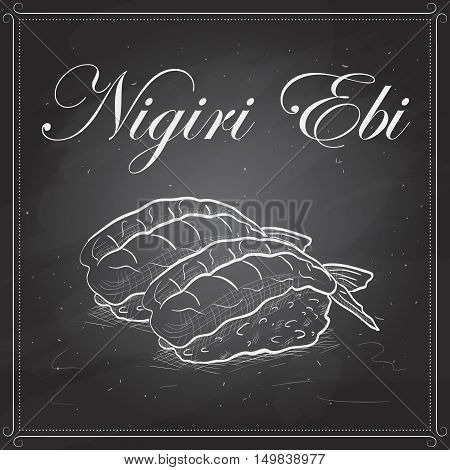 Vector sushi sketch, Nigiri Ebi on a blackboard