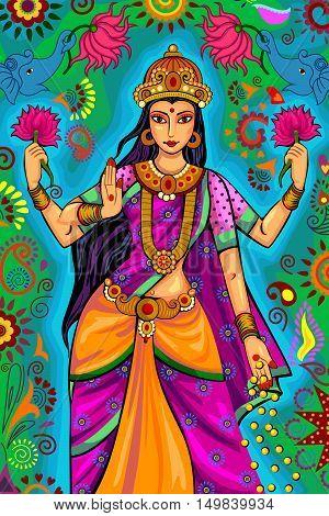 Vector design of Indian Goddess Lakshmi for Diwali festival celebration in India