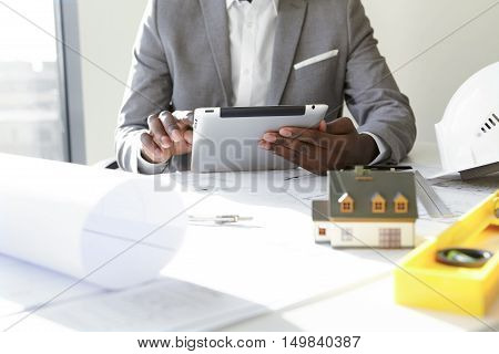 Selective Focus. Design And Architecture. Cropped Shot Of African Architect Holding Digital Tablet,