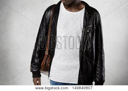 People And Fashion. Isolated Portrait Of Stylish Young Dark-skinned Student In Trendy Clothes, Carry