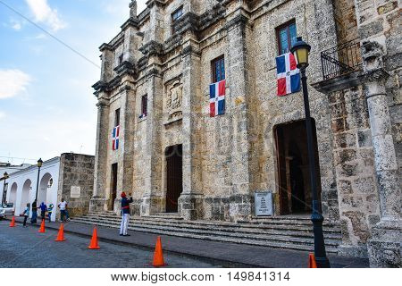 SANTO DOMINGO, DOMINICAN REPUBLIC - JANUARY 30: Flag Raising at the National Pantheon in Las Damas street. January 30, 2016 in Santo Domingo, Dominican Republic.