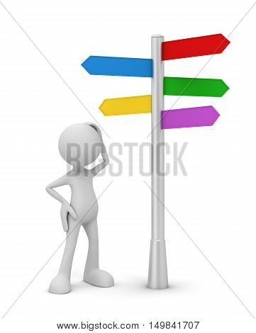 which way to go 3d illustration isolated on white background