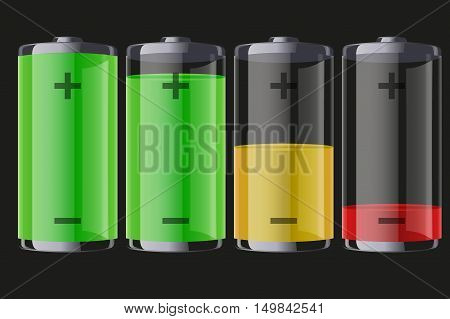 Set of rechargeable batteries with indication level of full charge to low. Editable Vector illustration Isolated on dark background.