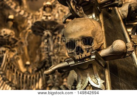 Real skull from the bone church of Kutna Hora in Czech Republic